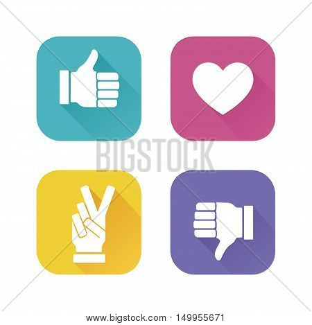 Thumbs up and down, heart signs on colorful flat vector icons. Simple buttons with user feedback for social network, mobile app or web site design