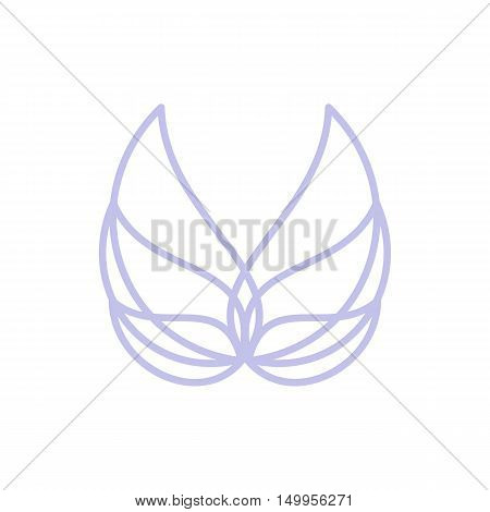 Isolated abstract blue color bird element logo. Spreading wings with feathers logotype. Flight icon. Air sign. Vector bird illustration. Angel symbol