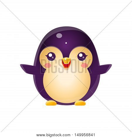 Penguin Baby Animal In Girly Sweet Style. Bright Color Vector Icon Isolated On White Background. Cute Childish Animal Character Design.