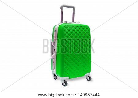 Suitcases red on the white background isolated, with clipping path.
