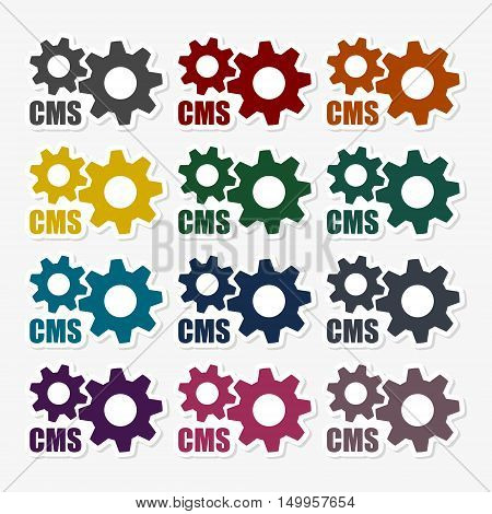 Cms icon set on gray backgound, cms stickers