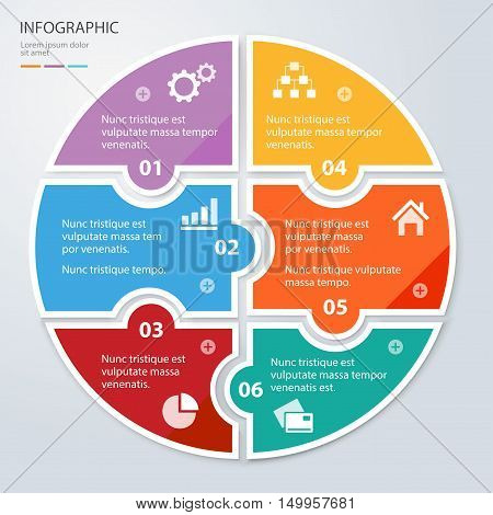Six piece flat puzzle round infographic presentation. 6 step circle business diagram. Six section compare service banner. Vector illustration template shape . 3d Abstract Background