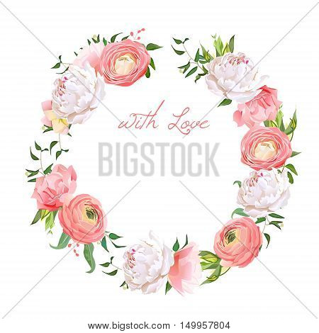 Delicate peony ranunculus rose carnation green plants round vector design frame. All elements are isolated and editable.