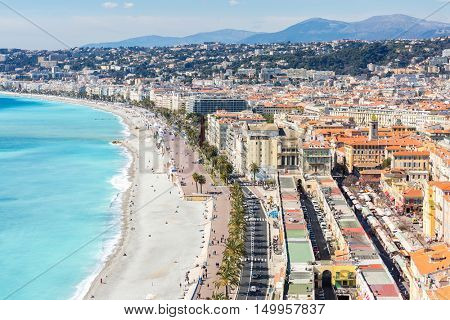 Nice Cote d'Azur Riviera France with mediterranean beach sea