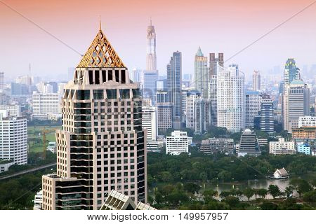 Aerial view of Bangkok Skyline cityscape with garden  Evening Thailand