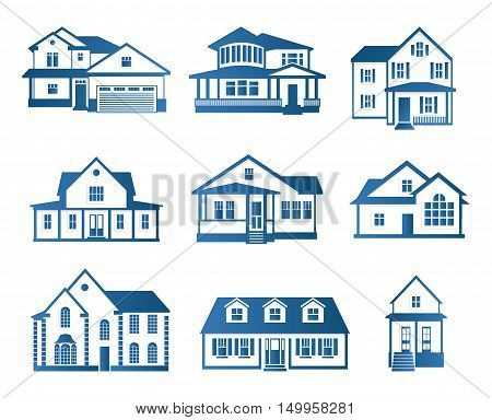 Isolated abstract blue color house contour logo set. Real estate building logotype collection. Purchase property business icon. Apartment rent company emblem. Vector house illustration