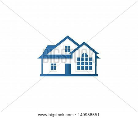 Isolated abstract blue color house contour logo. Real estate building logotype. Purchase property business icon. Apartment rent company emblem. Vector house illustration.