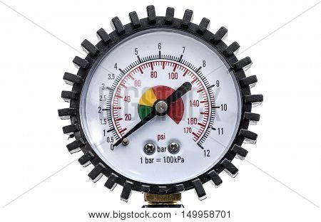 Industrial Manometer Pressure Gauge Isolated On A White Background.