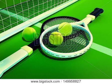 Tennis; racket; tennis grass court, 3D illustration