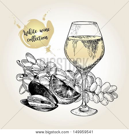 Vector set of white wine collection. Engraved vintage style. Glass mussel lime and sultana grape. Isolated on grunge background. . Use for restaurant cafe store food menu design