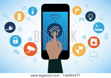 Concept of Smart House technology with app icons. Remote home control online.Smart Home Technology Internet networking concept. Internet of things/Smart home automation. Internet of things