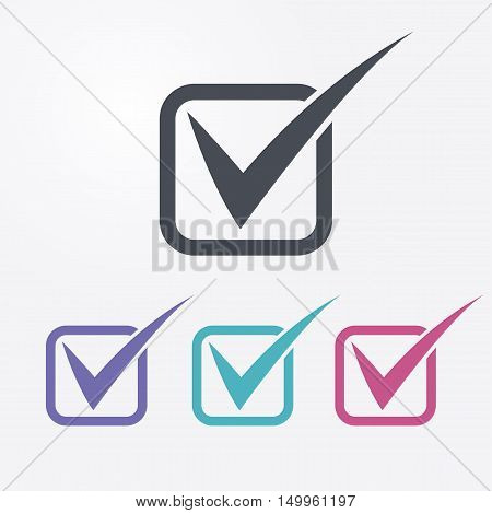 Vector check mark icons. Check list symbols. 4 different colors.