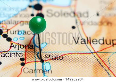Plato pinned on a map of Colombia
