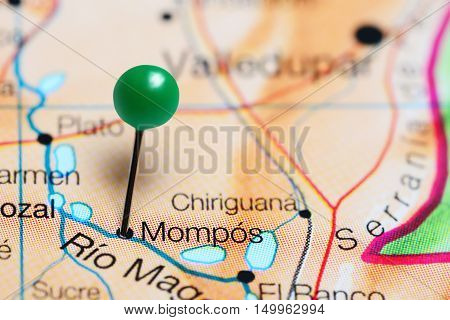 Mompos pinned on a map of Colombia