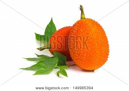 Gac Fruit, Typical Of Orange-colored Plant Foods In Asia Isolated On White