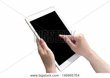 Close Up Hand Woman Holding Tablet And Touchscreen On Isolated White With Clipping Path.
