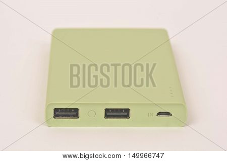 Battery power bank on a white background