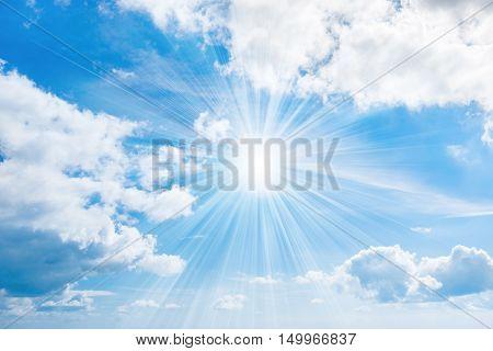 Sun With Rays On Blue Sky