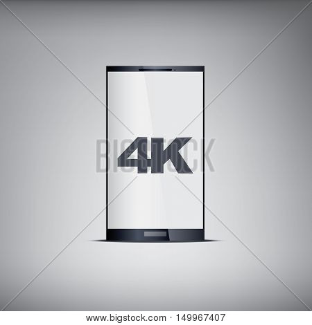 4k screen smartphone with modern ultra hd resolution. Eps10 vector illustration.