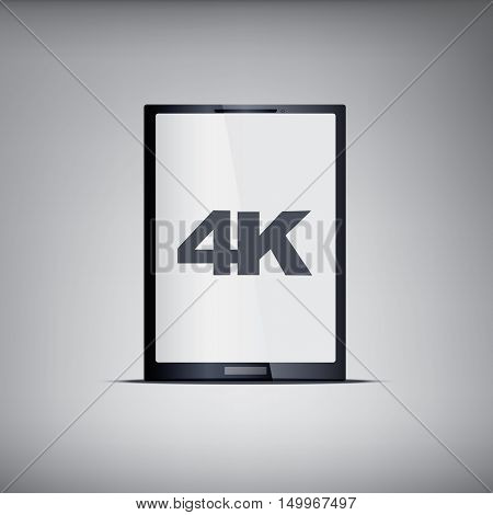 4k screen tablet with modern ultra hd resolution. Eps10 vector illustration