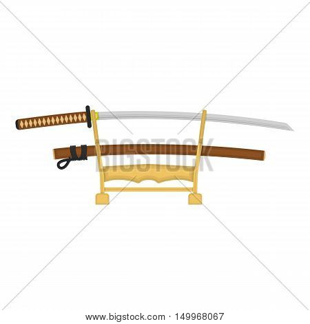 Katana icon in cartoon style isolated on white background. Japan symbol vector illustration.