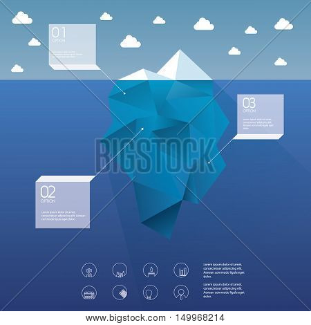 Polygon iceberg concept vector design with infographic menu options as symbol of business risk. Eps10 vector illustration.