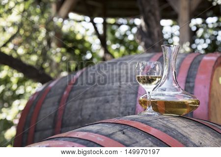Bottle of wine with wine glass on the runlet. White wine.