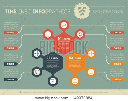 Part of the report with logo and icons set. Vector infographic of technology or education process. Business concept with three options. Web Template of a pyramidal chart diagram or presentation.