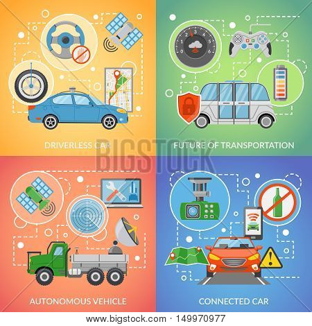 Flat design future of transportation driverless car autonomous vehicle isolated 2x2 icons set vector illustration