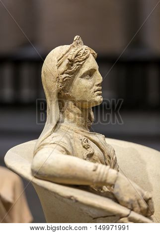 ROME, ITALY - JUNE 12, 2015: Ancient statue of woman in baths of Diocletian (Thermae Diocletiani) in Rome. Italy