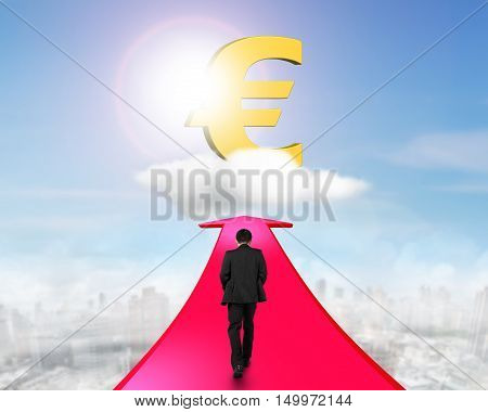 Businessman Walking On Arrow Going Toward Euro Symbol
