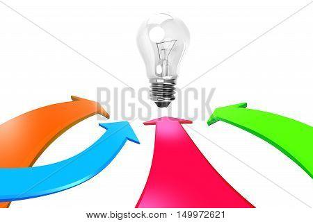 Four Color Arrows Go Toward Light Bulb, 3D Rendering