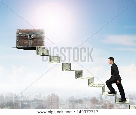 Businessman Climbing Spiral Staircase Toward Treasure Chest On Money Stairs