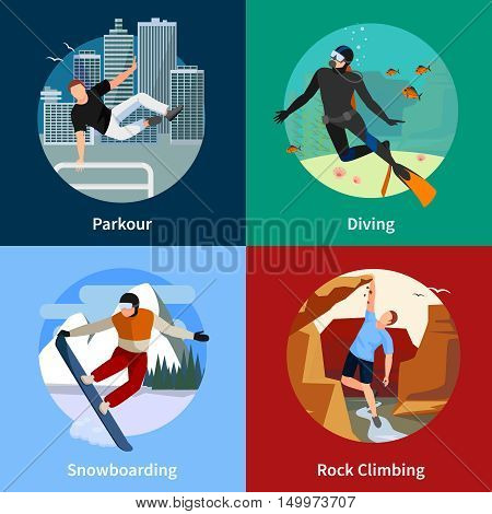 Colorful extreme sports people 2x2 icons set with parkour diving snowboarding and rock climbing isolated vector illustration