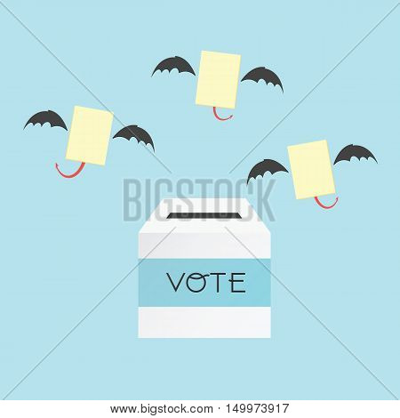 Voting Concept By The Ballot Box And Paper Devil .