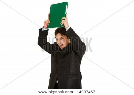 Frustrated modern businessman brandishing folder with documents isolated on white