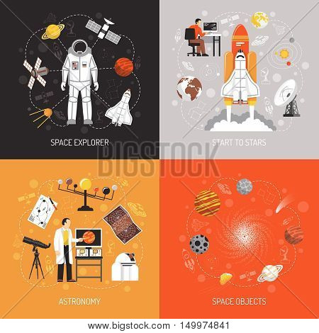 Astronomy 2x2 design concept with cosmonaut spacesuit space explorer elements and space objects images flat vector illustration