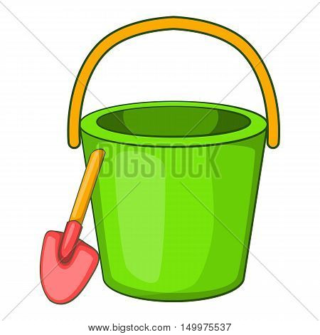 Sand bucket and shovel icon in cartoon style isolated on white background vector illustration