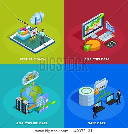 Big data collecting safe storage and analytic analysis for business efficiency 4 isometric icons square isolated vector illustration