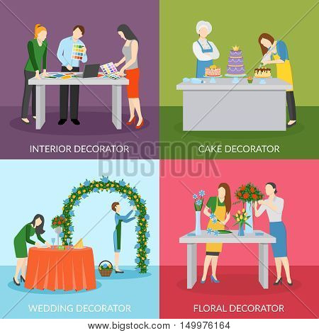 Professional home interior decoration with floral compositions and wedding cake 4 flat icons square isolated vector illustration