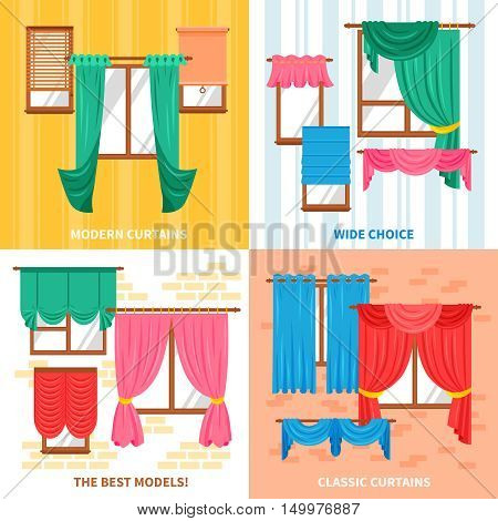Curtains for windows 2x2 design concept set with wide choice of classic and modern models flat vector illustration