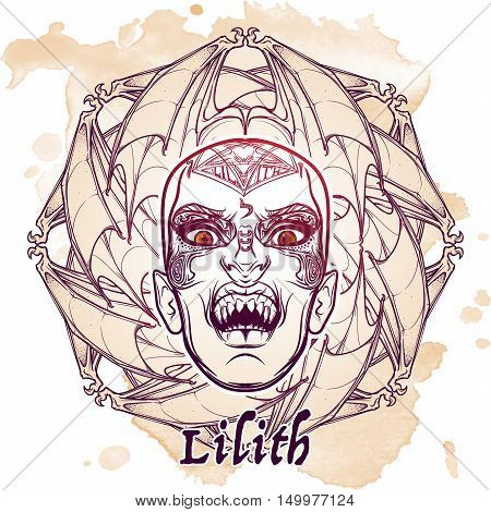 Hand drawn sketchy artwork of scary aspect of Lilith Babylonian demon of night. Bat wings ornament. Halloween concept. Alchemy, religion, spirituality, occultism, tattoo art. EPS10 vector illustration