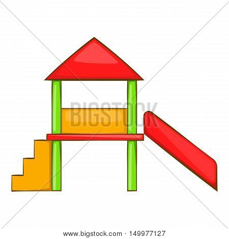 Playhouse with slide icon in cartoon style isolated on white background vector illustration