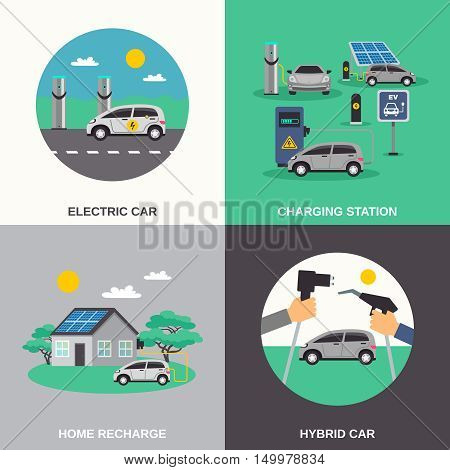 Electric hybrid cars charging stations and home recharge points 4 flat icons composition poster isolated vector illustration