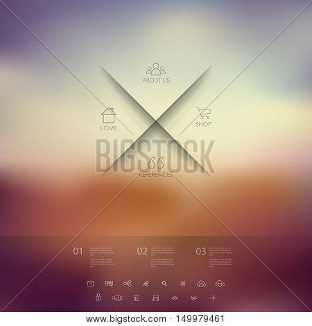 Single page website on blurred vintage background. Basic web line icons for introduction. Minimalistic design. Eps10 vector illustration.