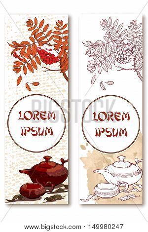 Ceramic teapot cup tea leaves rowanberry branch with snow on grunge spot and burlap bacgrounds. Set of 2 seasonal vertical banners. Tea ceremony flyer. EPS10 vector illustration.