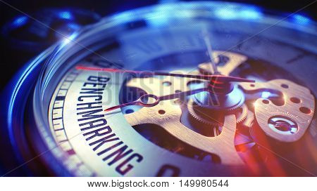Watch Face with Benchmarking Text on it. Business Concept with Lens Flare Effect. Benchmarking. on Vintage Watch Face with CloseUp View of Watch Mechanism. Time Concept. Lens Flare Effect. 3D.
