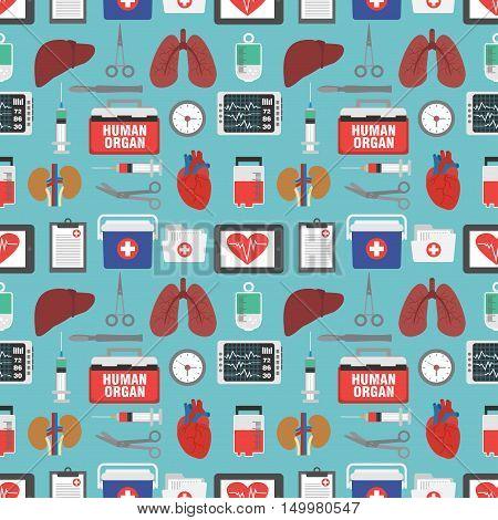 Human organ for transplantation seamless design flat.Vector illustration