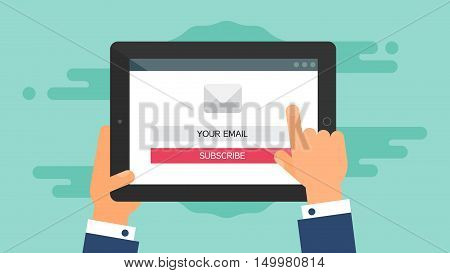 Web Template and Elements for site form of email subscribe, newsletter on tablet. Vector