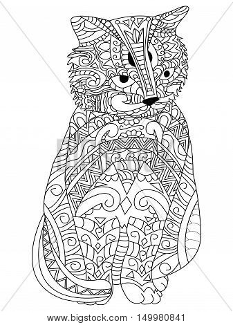 Cat Coloring pet adult vector illustration. Anti-stress coloring for adults. Zentangle style. Black and white lines. lace